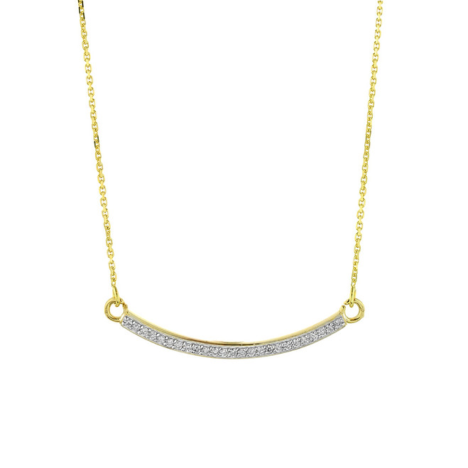 14k Gold Curved Bar Necklace with Diamonds