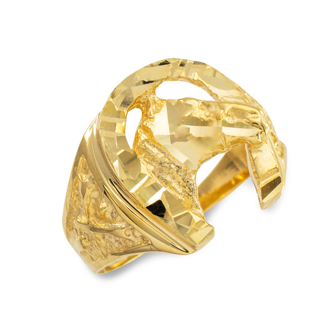 Gold Horse Head with Horseshoe Diamond Cut Ring