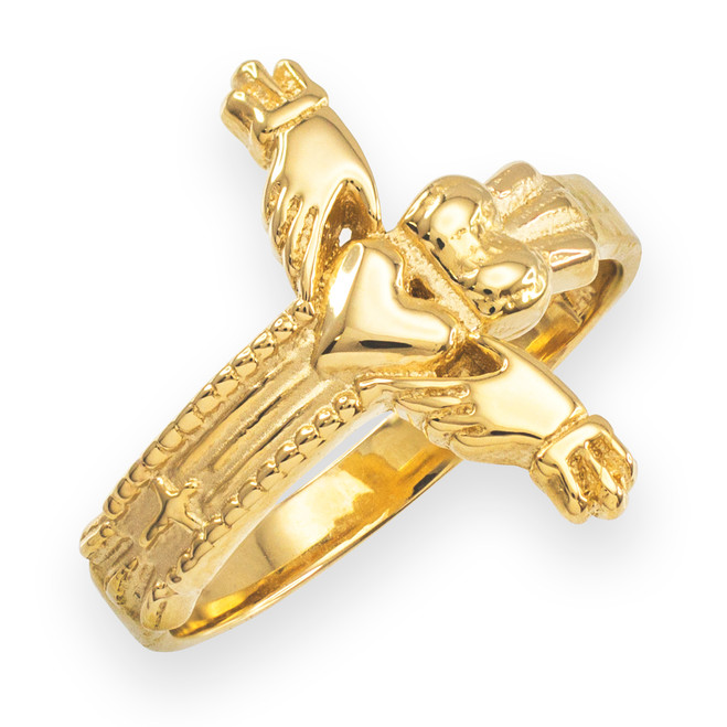 Gold Classic Claddagh Cross Ring