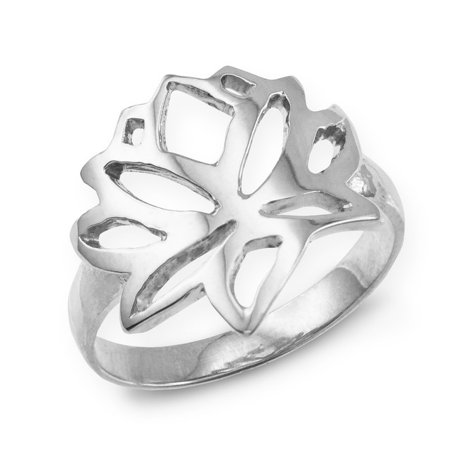 White Gold Lotus Flower Ring