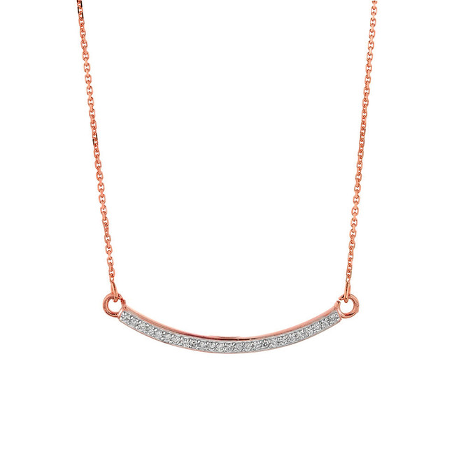 14k Rose Gold Curved Bar Necklace with Diamonds