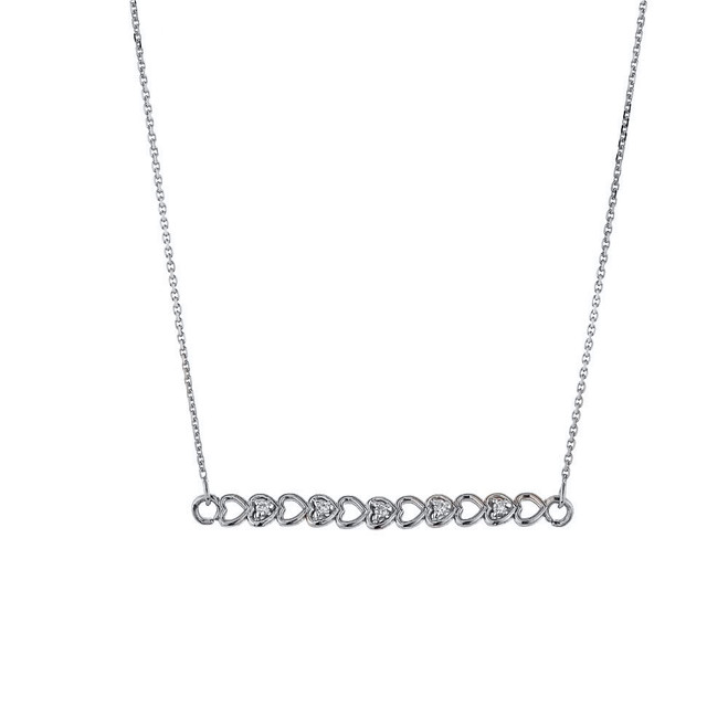 14k White Gold Hearts Necklace with Diamonds