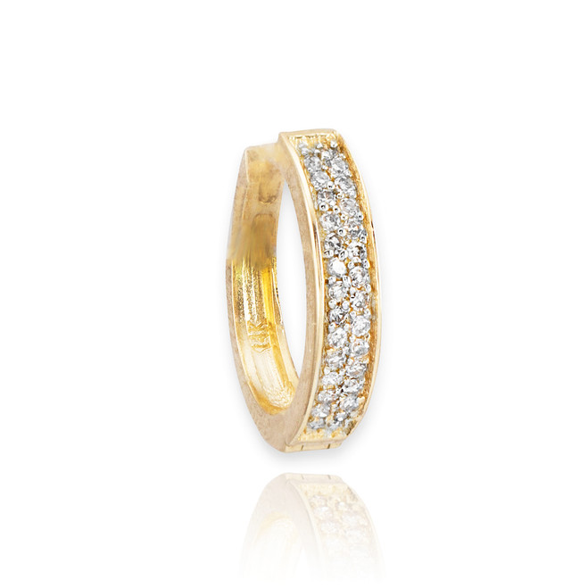 14k Gold Diamond Huggie Earring (1-piece)