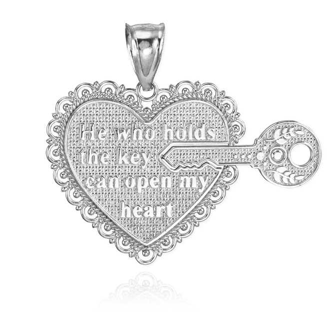 "2pc Sterling Silver ""Key Of My Heart"" Detachable Pendant"
