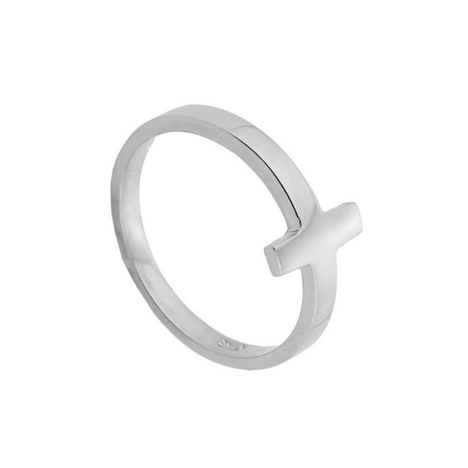 White Gold Sideways Cross Toe Ring