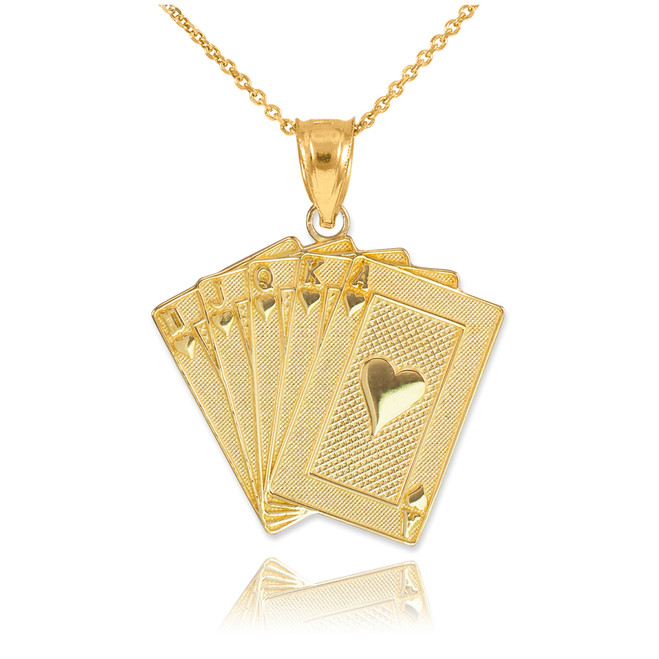 Gold Royal Flush Poker Pendant Necklace
