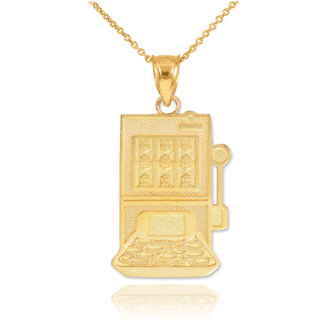 Gold Casino Slot Machine Pendant Necklace