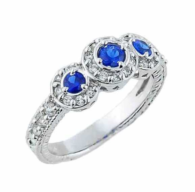 Sterling Silver Art Deco Blue CZ Engagement Ring