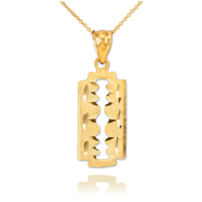 Gold Razor Blade Pendant Necklace
