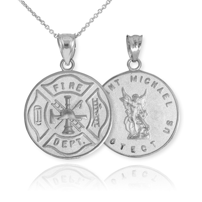 White Gold Firefighter Badge Reversible St. Michael Pendant Necklace