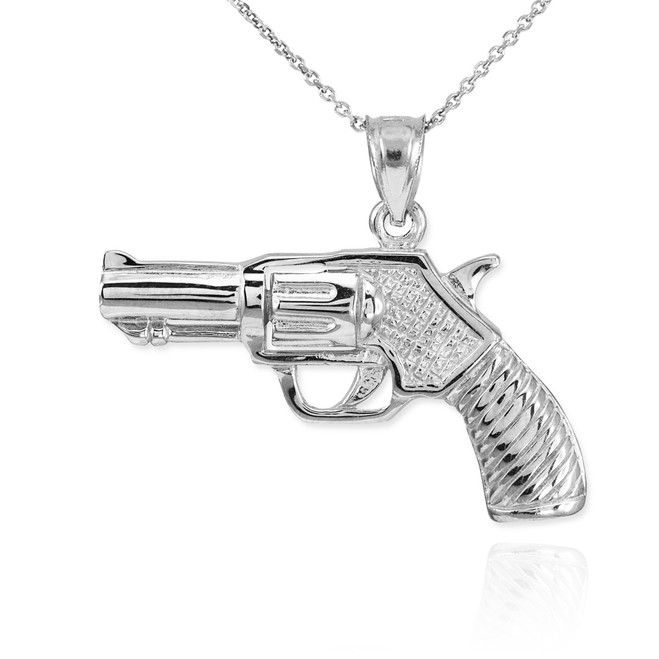 Sterling Silver Revolver Gun Pendant Necklace