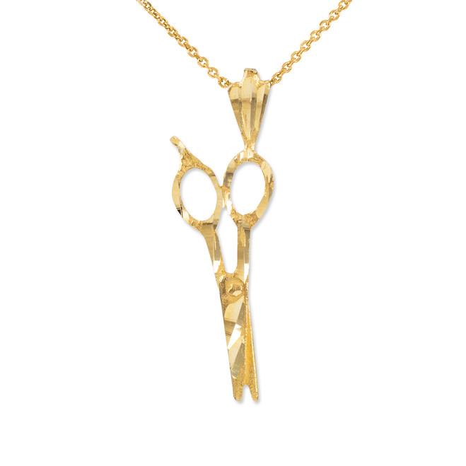 Gold Diamond Cut Scissors Charm Necklace