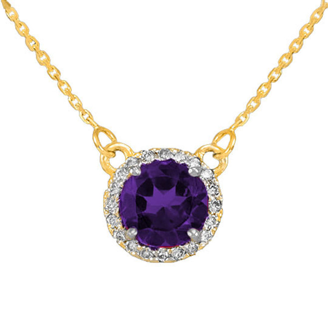 14k Gold Diamond Amethyst Necklace