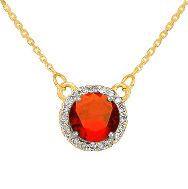 14k Gold Diamond Garnet Necklace