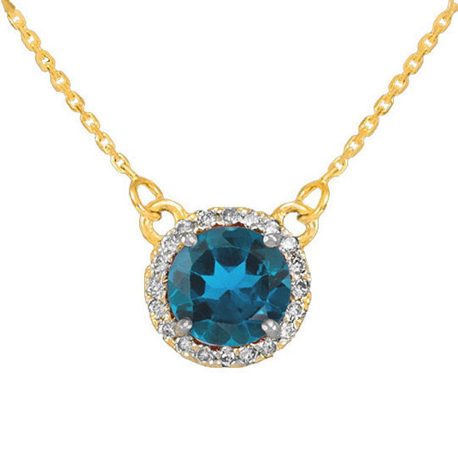14k Gold Diamond Blue Topaz Necklace