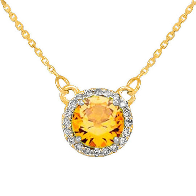 14k Gold Diamond Citrine Necklace