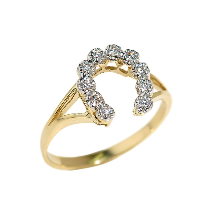 Yellow Gold Cubic Zirconia Horseshoe Ladies Ring