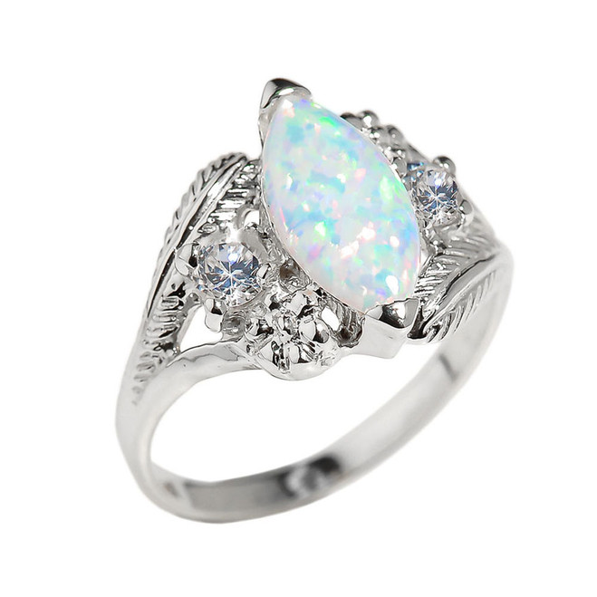 Sterling Silver Marquise Opal Gemstone Ring