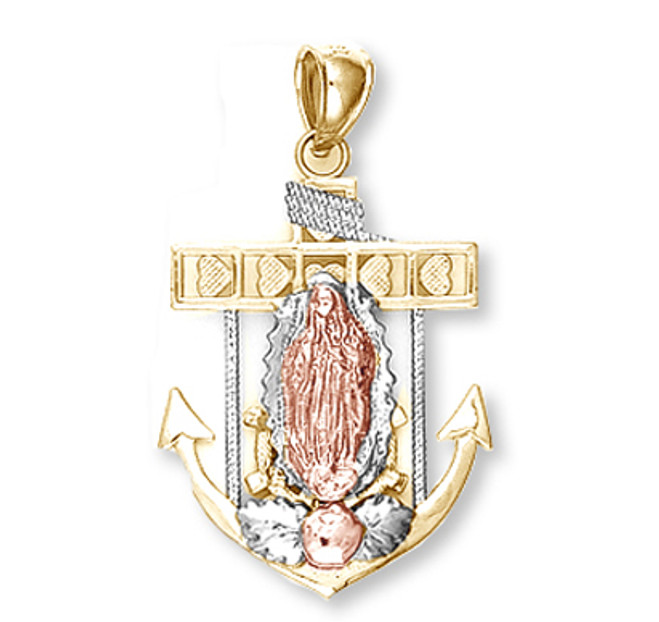 Tri Color Gold Anchor with Guadalupe Pendant1