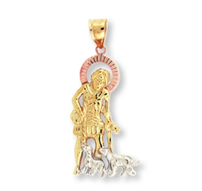 Tri Color Gold Religious St. Joseph Pendant