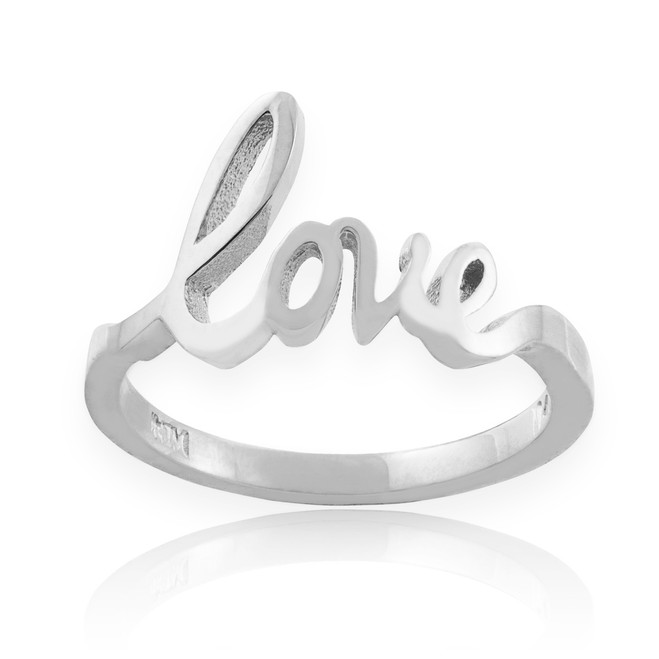 "Sterling Silver ""Love"" Script Ring"