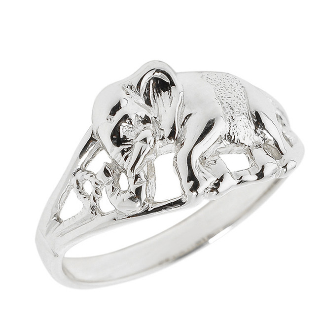 Sterling Silver Openwork Elephant Ring