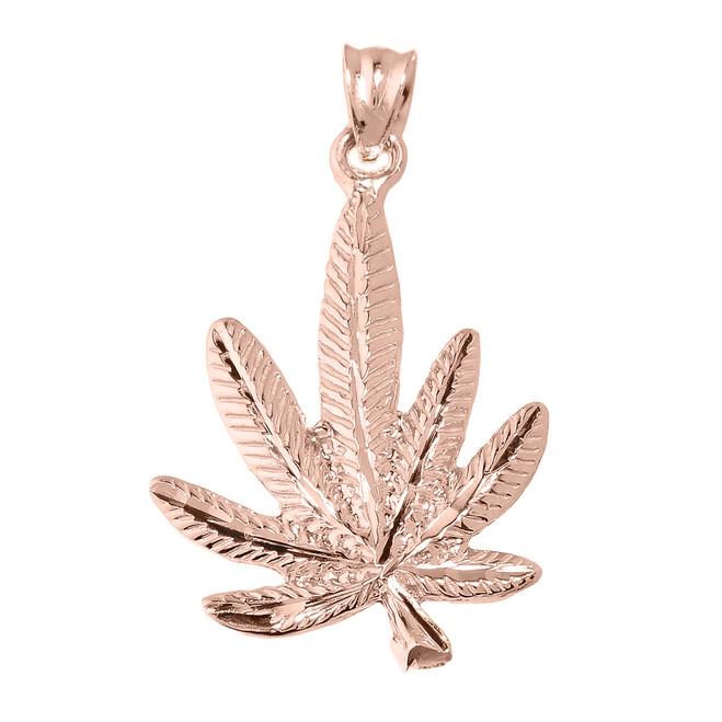Rose Gold Marijuana Charm Pendant