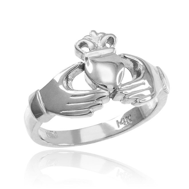 White Gold Classic Claddagh Engagement Ring