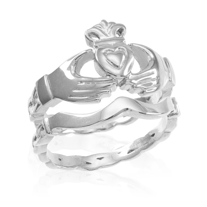 2-Piece White Gold Claddagh Engagement Ring with Celtic Band