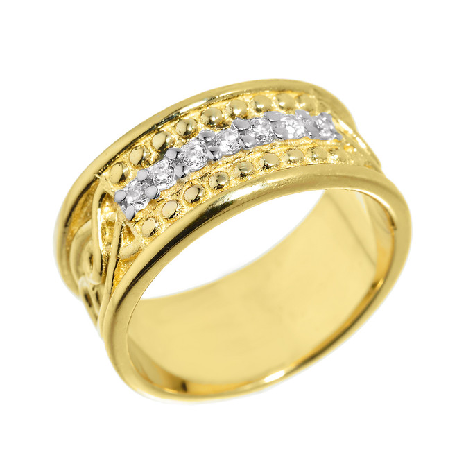 Yellow Gold Celtic Knot Diamond Wedding Band