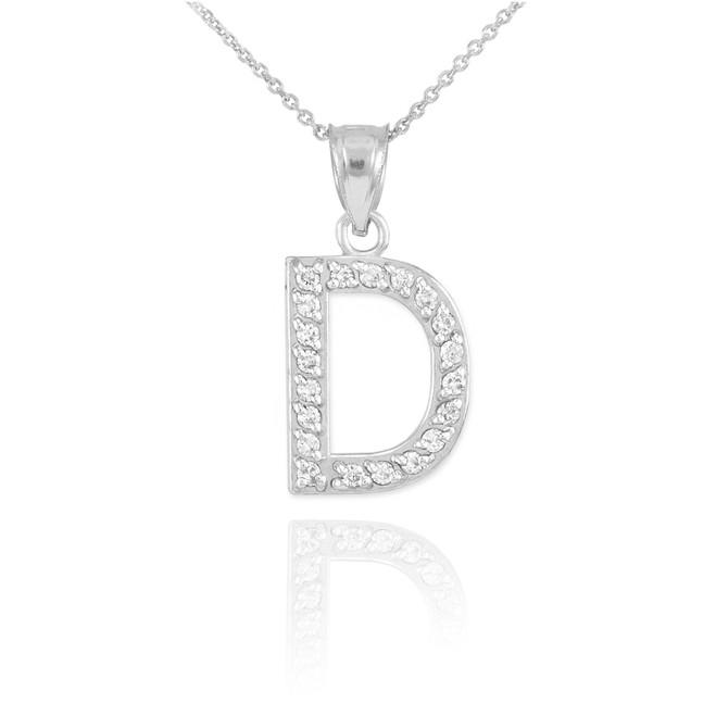 "Sterling Silver Letter ""D"" CZ Initial Pendant Necklace"