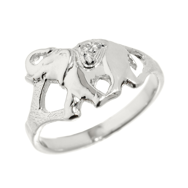 925 Sterling Silver CZ Studded Elephant Ring