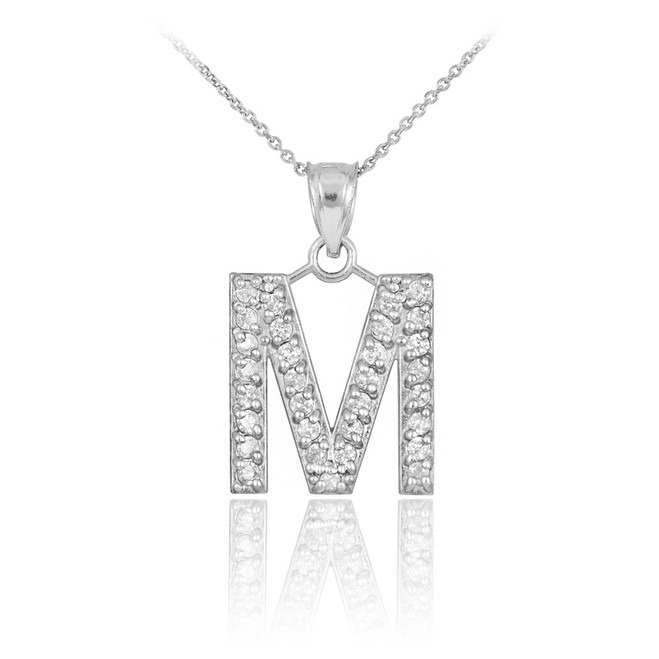 "Sterling Silver Letter ""M"" Initial CZ Monogram Pendant Necklace"