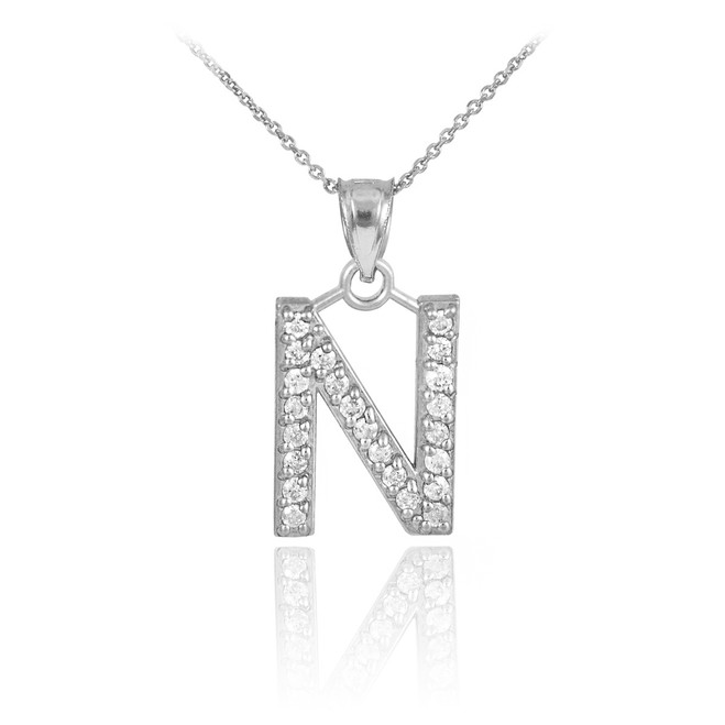 """Sterling Silver Letter """"N"""" Initial CZ Monogram Pendant Necklace"""