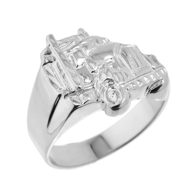 Men's Sterling Silver Truck Design Ring