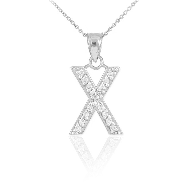 """Sterling Silver Letter """"X"""" CZ Initial Pendant Necklace"""