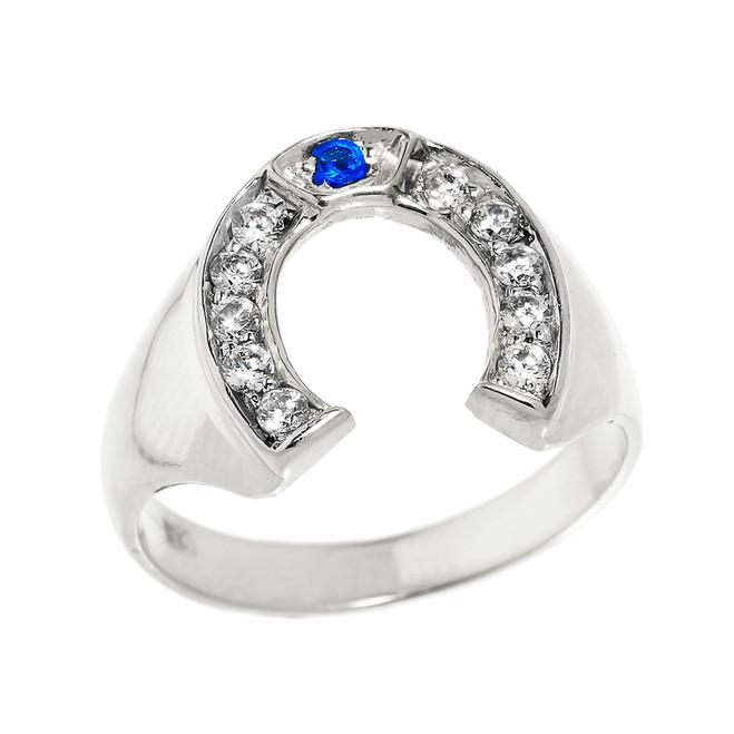 White Gold Diamond and Blue Sapphire Men's Horseshoe Ring