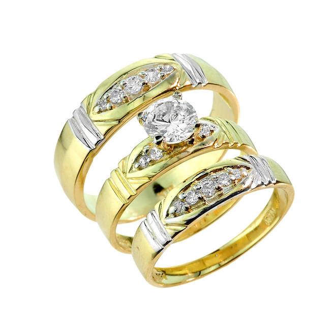 Gold CZ 3PC Wedding Ring Set