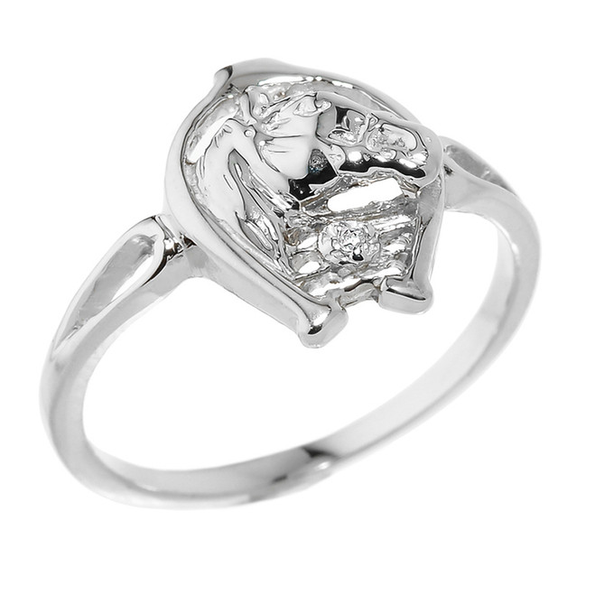 Rose Gold Horseshoe with Horse Head Diamond Ring
