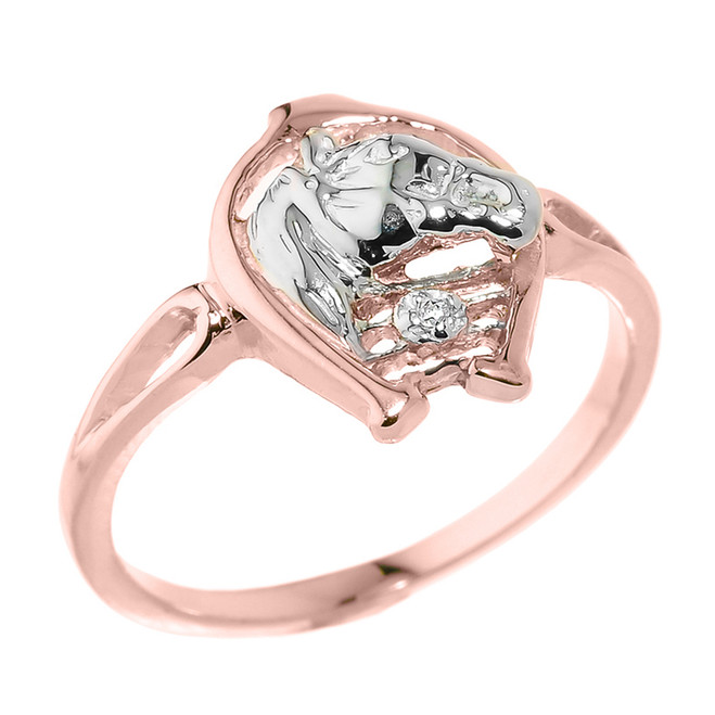 Rose Gold Horseshoe with Horse Head Diamond Ring