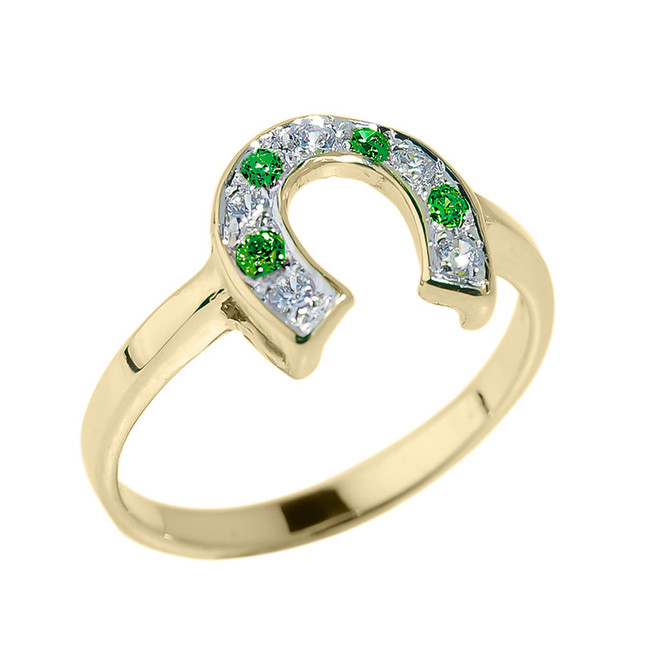 Yellow Gold White and Red CZ La s Horseshoe Ring