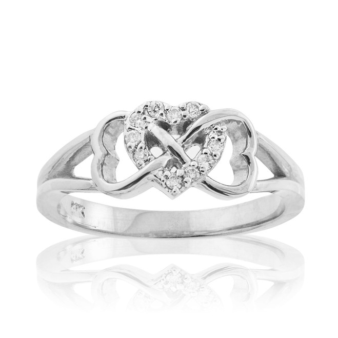 Sterling Silver CZ Infinity Heart Ring