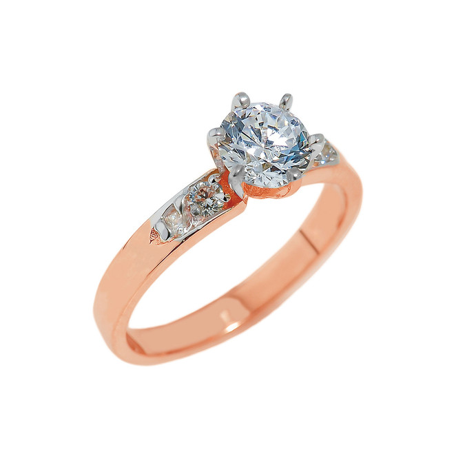 Rose Gold Engagement Ring with CZ