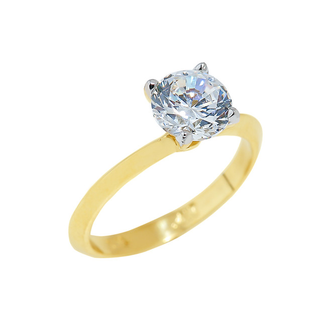 Gold Engagement Ring with Round Cut Cubic Zirconia