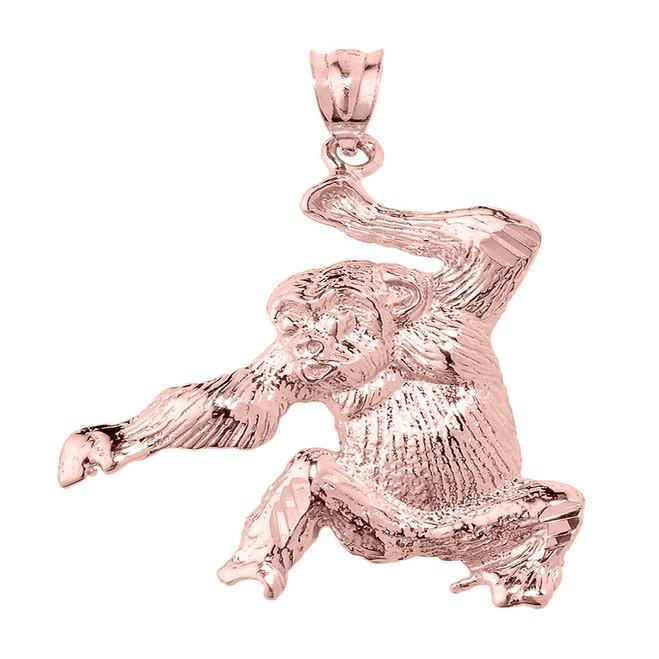 Rose Gold Diamond Cut Monkey Pendant