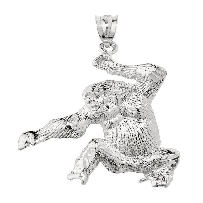 Sterling Silver Diamond Cut Monkey Pendant