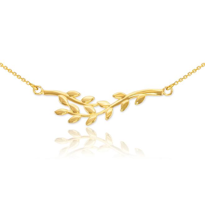 14K Polished Gold Olive Branch Necklace