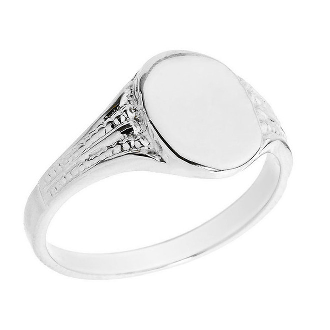 Solid White Gold Oval Engravable Men's Signet Ring