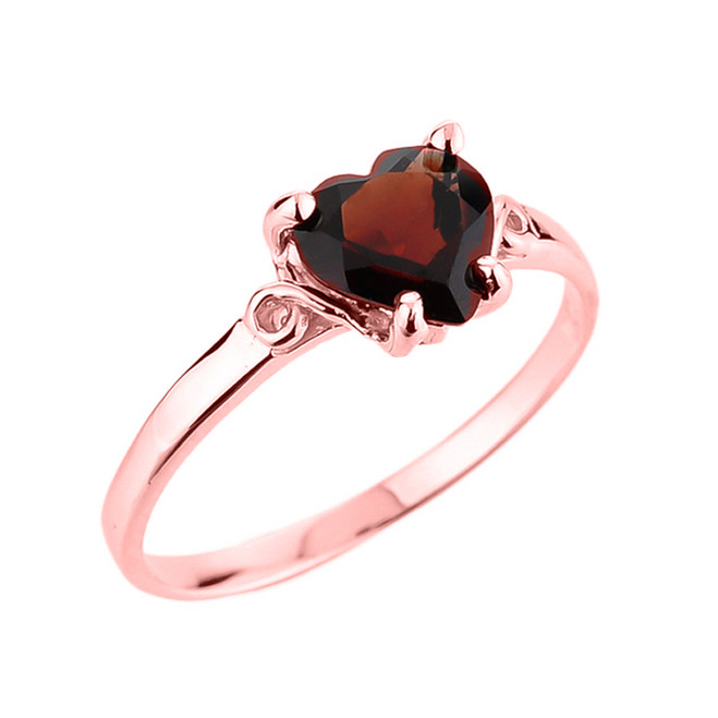 10k Rose Gold Ladies Heart Shaped Garnet Gemstone Ring