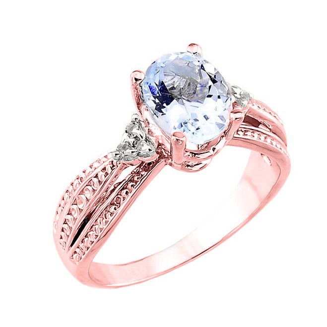 Beautiful Rose Gold Aquamarine and Diamond Proposal Ring
